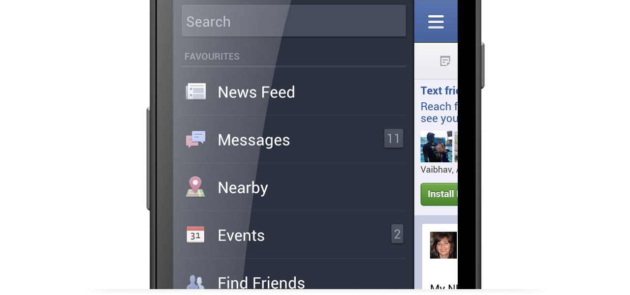 facebook pull the side menu
