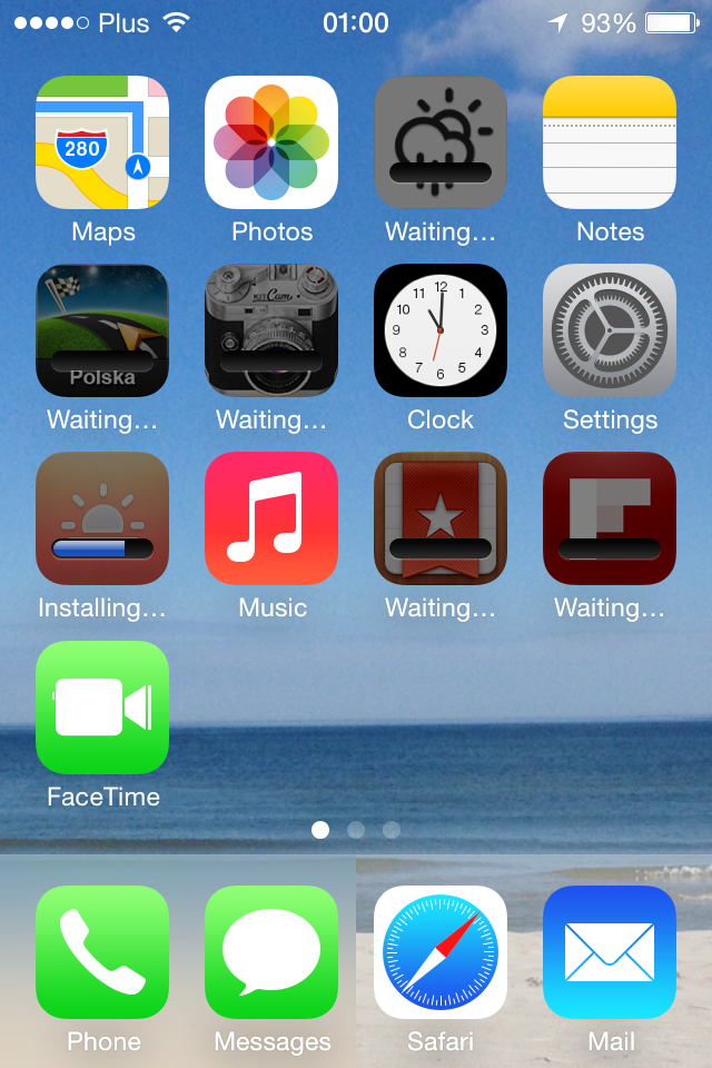 iOS 7 homescreen screenshot
