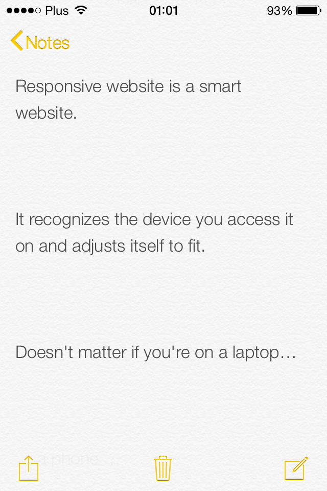 iOS 7 Notes App screenshot
