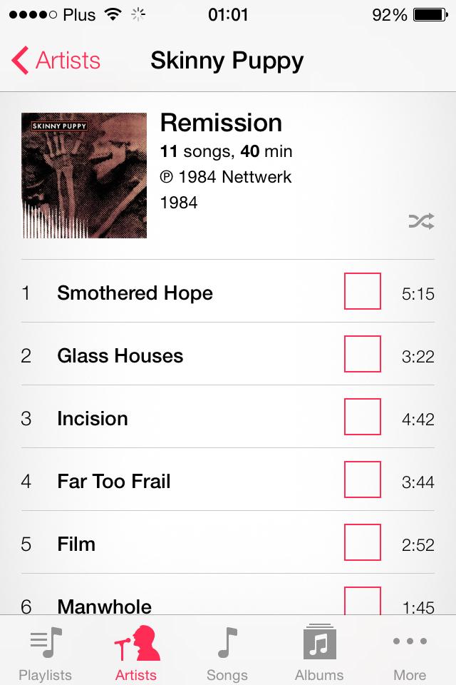 iOS 7 Music App screenshot