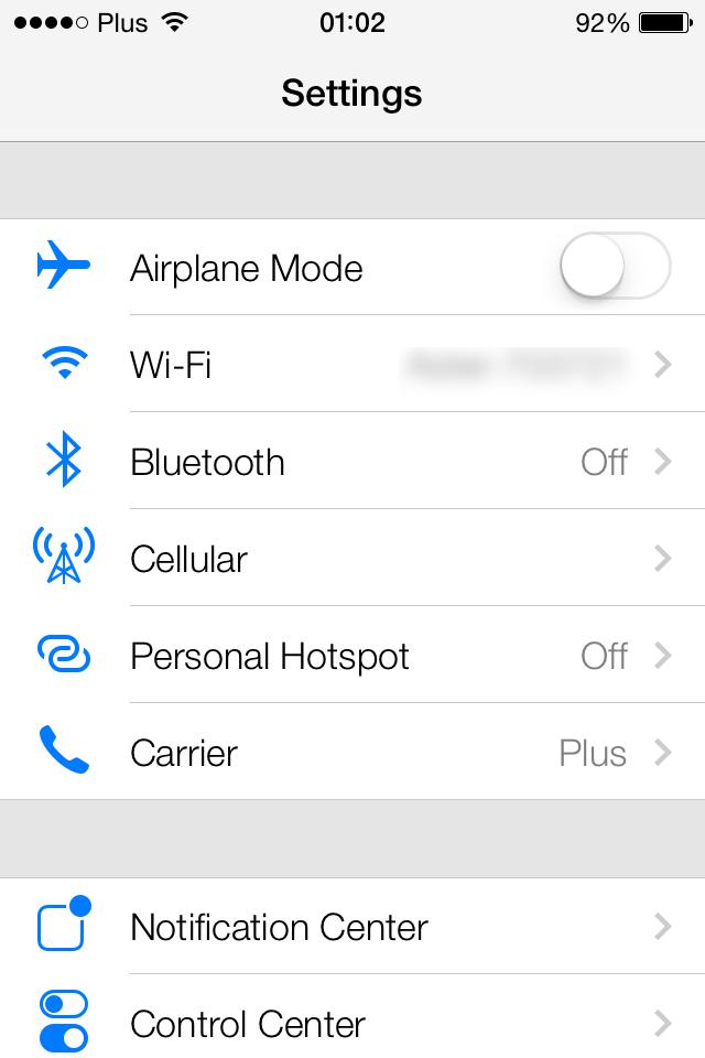 iOS 7 Settings screenshot