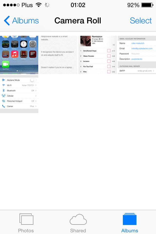 iOS 7 camera roll screenshot