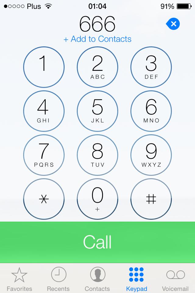 iOS 7 phone keypad screenshot