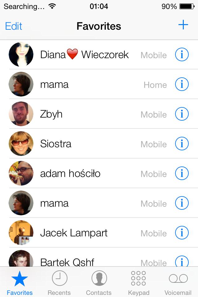iOS 7 contacts screenshot
