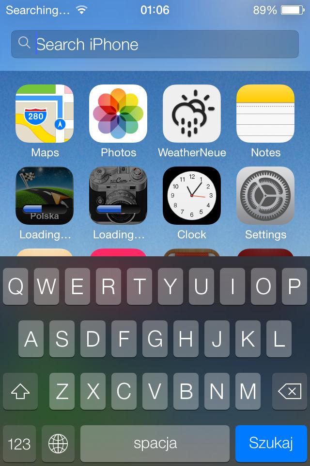 iOS 7 search screenshot