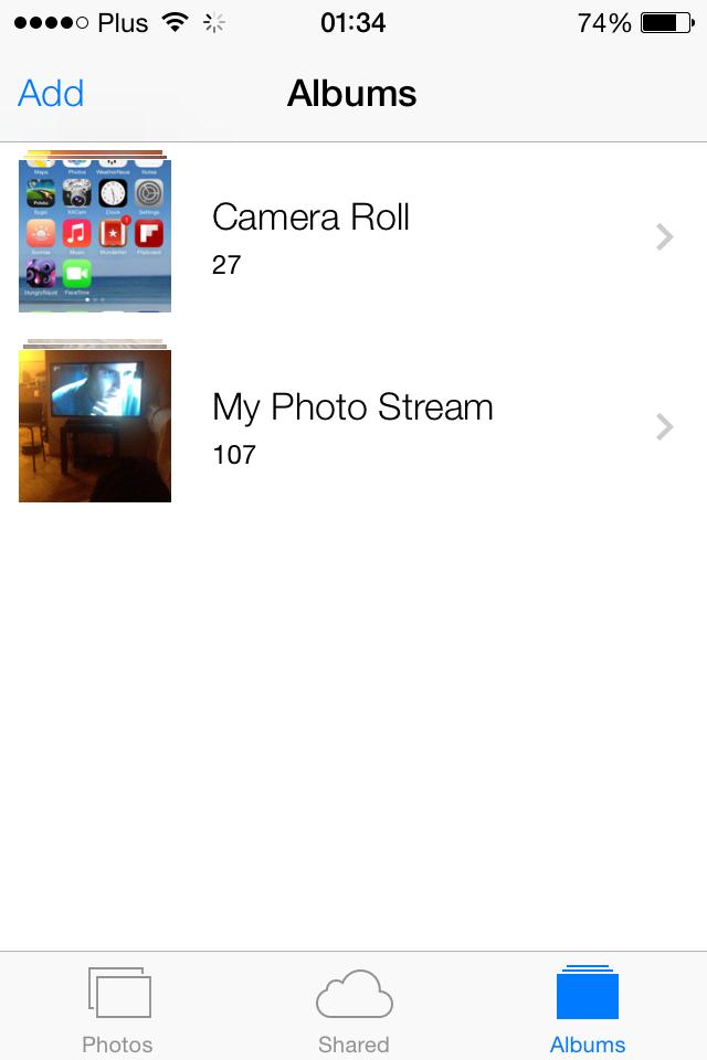 iOS 7 photo albums screenshot