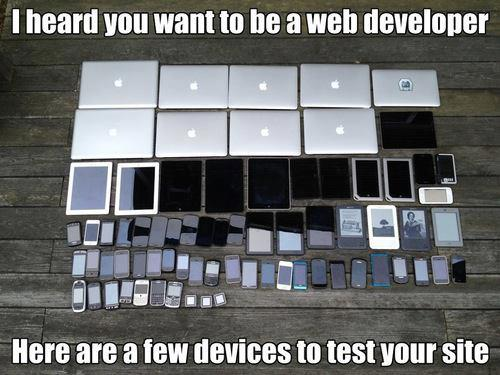 web developer testing on devices
