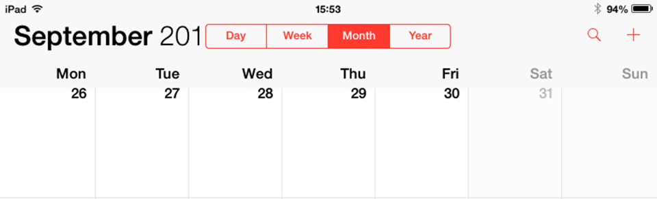 ios7 calendar iPad portrait visual bug